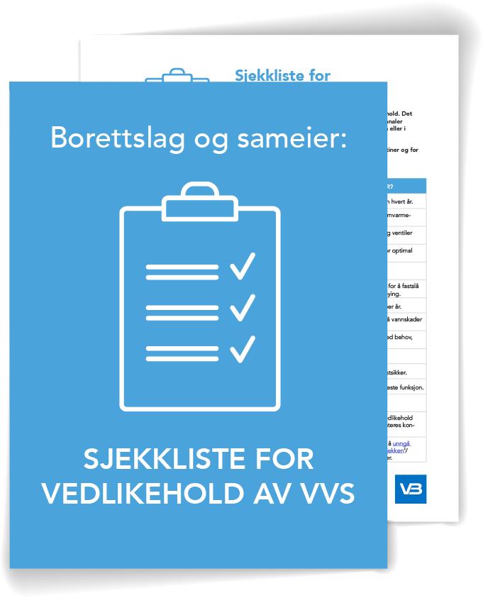 sjekkliste for vedlikehold av VVS borettslag og sameier